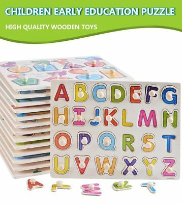 30cm Baby Kids Toddler Early Educational Toys Wooden Puzzle Alphabet jigsaw UK