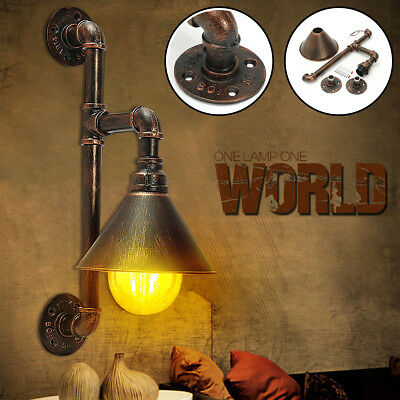 Industrial Steampunk Wall Lamp Rustic Vintage Pipe Indoor Barn Light Wall Sconce