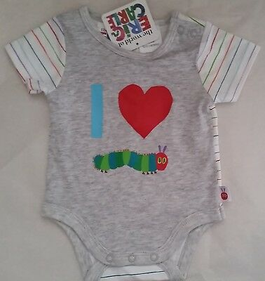 THE VERY HUNGRY CATERPILLAR Boy Licensed romper bodysuit NEW sizes 000-1