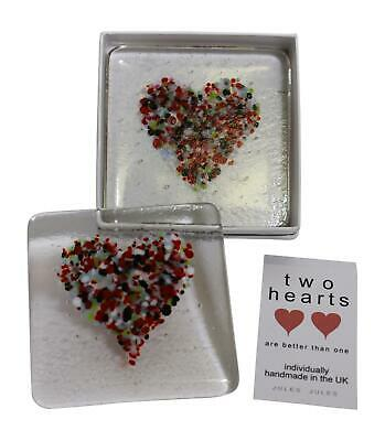 Pair of Handcrafted Glass Coasters Featuring Multi Coloured Love Hearts