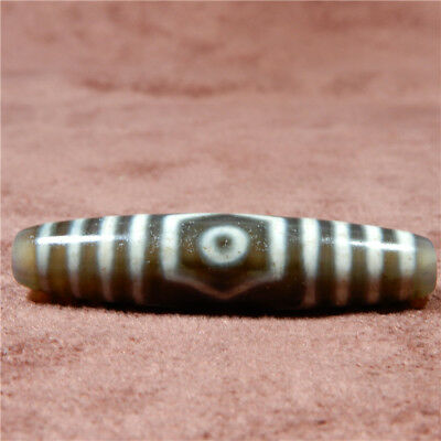 band certificate tibet dzi bead old agate 3 Eye amulet gzi antique Pendant A0502