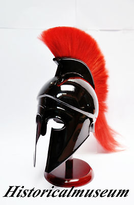 Greek Corinthian Helmet with Red Plume,Sca  Armor Medieval Knight Spartan Larp'