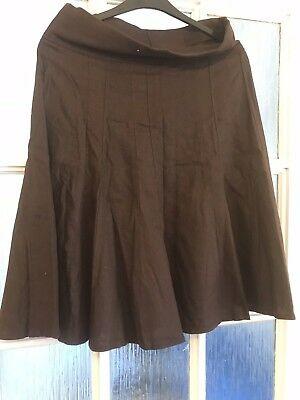 Ladies Brown Cotton Maternity Skirt Size 8 (A)