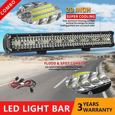 23 inch CREE LED Light Bar SPOT FLOOD Off Road 4x4 Work Driving Bars 3Rows 12V