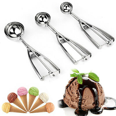3PCS Ice Cream Spoon Stainless Steel Spring Handle Masher Cookie Scoop 2019