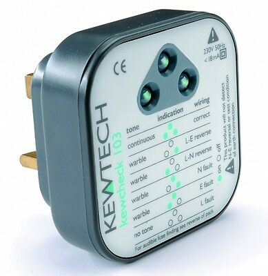 Kewtech Kewcheck103 Mains Socket Tester with Audible Tone