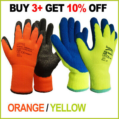 Orange / Yellow Thermal Hi Vis / Viz Winter Work Gloves Latex Builders Gardening