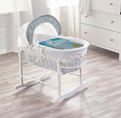 Vintage Cars White Wicker Moses Basket with Deluxe White Rocking Stand