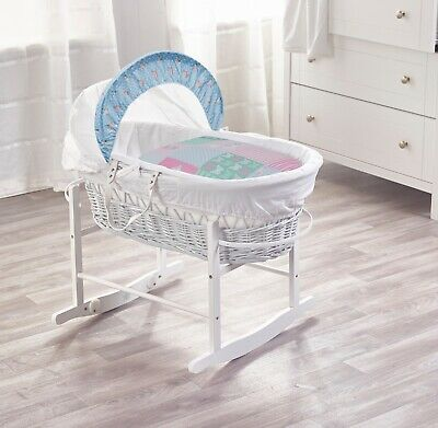 Vintage Birds White Wicker Moses Basket with Deluxe White Rocking Stand