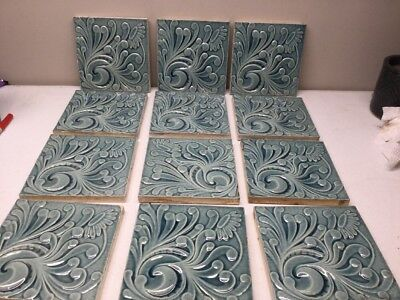 VINTAGE Blue Hamilton Tile Works, Ohio Glazed Tile c1883-1900's 12 PCS Flowers