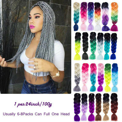 24 inch Ombre Xpression Jumbo Kanekalon Synthetic Braiding Hair Extensions 100g