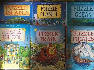 6 Usbourne Young Puzzle Books - lovely condition - 3 Hardback and 3 Paperback