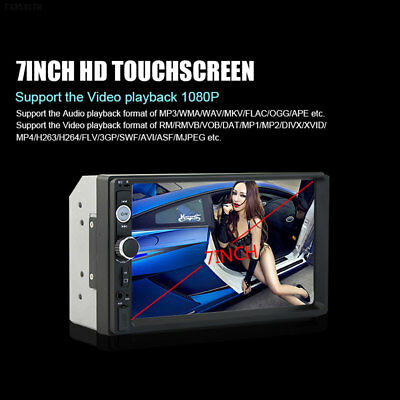 "1DE1 7"" Double DIN Car Truck MP5 Bluetooth Touch Screen Rearview Camera 70101B"