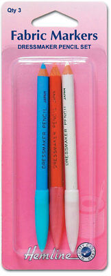 Hemline H294 | Wipe Off/Wash Out Dressmaker's Fabric Marker Pencils | Pack Of 3