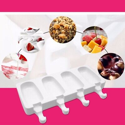 AU Silicone Block Pole Lolly Ice Cream Popsicle Maker Mold Frozen Mould DIY Tool