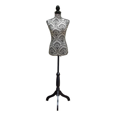 Dressmakers Mannequin with White and Black Lace Damask Design   Black Wood Stand