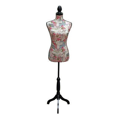 Dressmakers Mannequin with Vintage Butterfly and Rose Design | Black Wood Stand