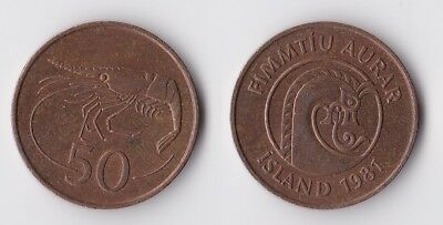 1981 Iceland 50 aurar coin with shrimp