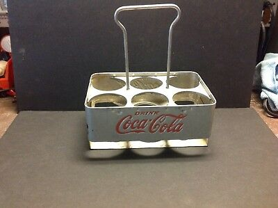 Early 1960's Coca Cola Metal  Aluminum 6 Pack Bottle Carrier
