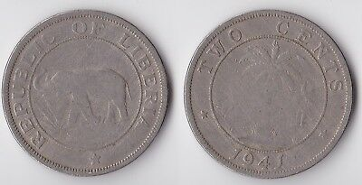 1941 Liberia 2 cents coin with elephant