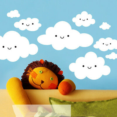 Happy Smiley Face White Clouds Wall Stickers For Kids Room Cute Baby Wall Art