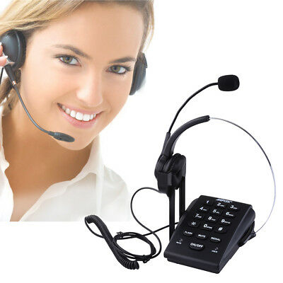 Office Telephone w/ Corded Headset Call Center Wired Phone Dial Pad Headphone