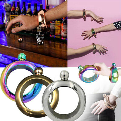 7B0C Hidden Booze Smuggle Jug Bracelet Bangle Alcohol Flask Stainless Steel Jewe