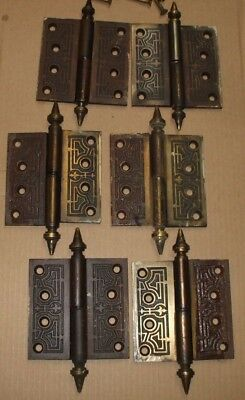 Antique Vintage Eastlake Brass Door Hinges Hardware Qty. 6