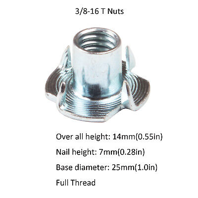 """4 Prong T-Nut 3/8""""-16 Zinc Plated Used For Wood Furniture USA SHIPPING"""