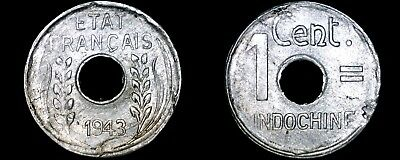 1943 French Indo-China 1 Cent World Coin - Vietnam