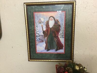 Home Interior Victorian Old World Santa Claus Picture Framed & Matted MINT