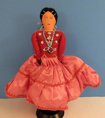 Vintage 11.5 Native American Navajo Indian Handmade Woman Doll - Beaded Jewelry