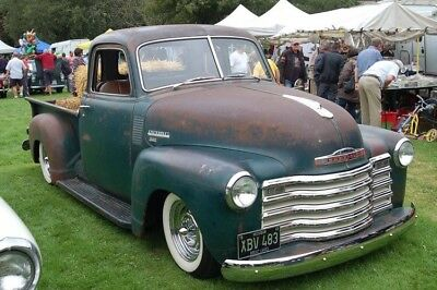 Classic Chevy 3100 patina pick up truck.