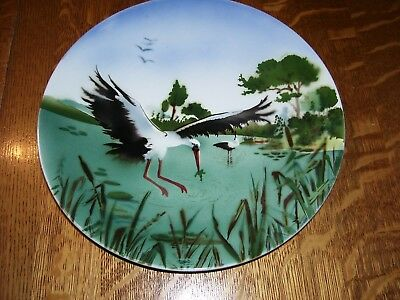 Antique Vintage Germany Hand Painted CRANE STORK BIRD air brushed original plate