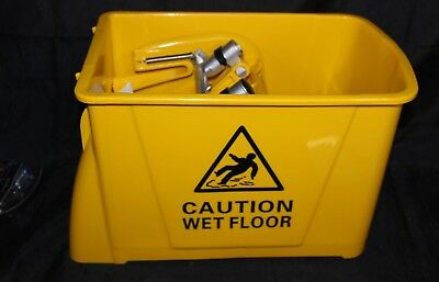 Mini Press Mop Bucket with Wringer 6 Gallon / 24 Liter Rolling Yellow