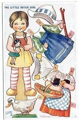 Old Tuck's Childrens Cut Out Postcard Little Dutch Girl Dressing Dolls Series Iv