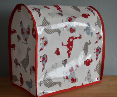 Kitchenaid or Kenwood KMix stand food mixer cover Chickens & Ducks oilcloth Red