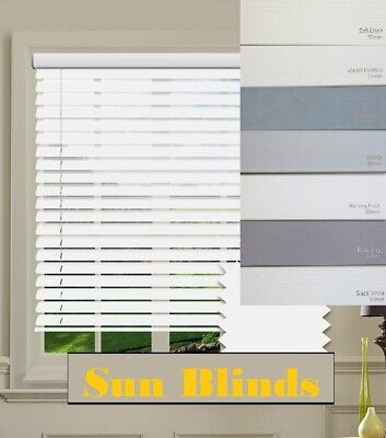Luxury Faux Wood 50mm Venetian Blinds  Made to Measure Grey White Cream FREE P+P