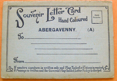 ABERGAVENNY Monmouthshire Fold Out Letter Card 6x Views c1920s