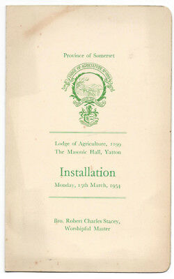 YATTON Somerset Lodge of Agriculture 4 Page Installation Programme 1954