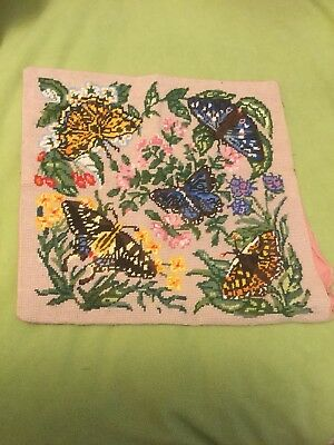 Vintage Retro Tapestry or Needlepoint Cushion Cover Butterflies