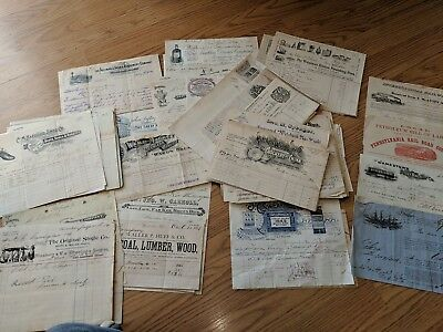 100 Antique American Advertising Letterhead Receipts Lithographs...