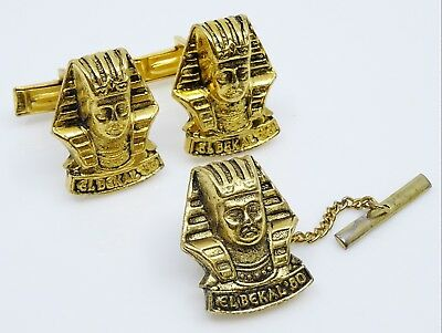 El Bekal Shriners Cufflinks Set w Tie Tack Pin Vintage 1980 Egyptian Pharaoh