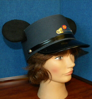 Mickey Mouse Disney Parks Red Car Trolley CONDUCTOR Hat With Ears Youth Size