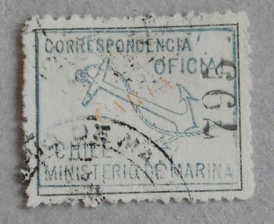 """Chile 1907 Official stamp - Marina Oficial - Yv 8  blue """"Carta"""" yellow  Copy 795"""