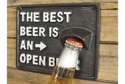 """Novelty Cast Iron Wall Mounted Bottle Opener """"The Best Beer Is An Open Beer"""""""