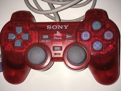Official Sony PSone Slim Console Clear Red Dualshock Controller PlayStation PS1