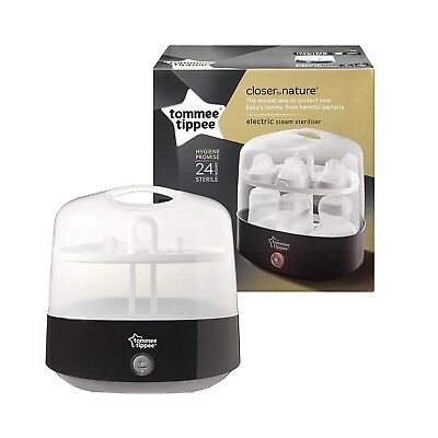 Black Electric Steam Steriliser Tommee Tippee Closer to Nature Baby Bottles