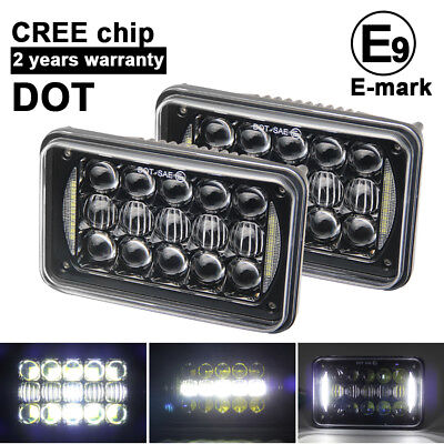 "2pcs 4X6"" DOT LED LIGHT BULB CRYSTAL CLEAR SEALED BEAM HEADLAMP HEADLIGHT"