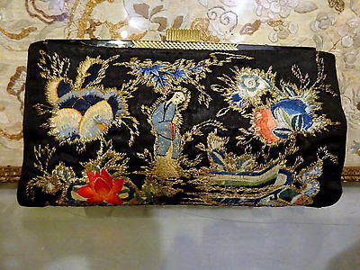 1930s Art deco Chinese Applique Couching Gold thread Silk Embroidery Clutch Bag